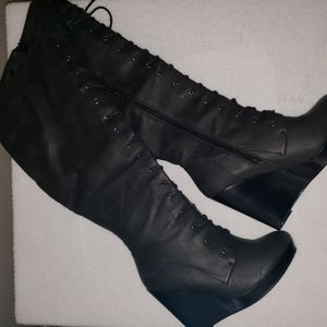 Black knee high lace up combat wedge